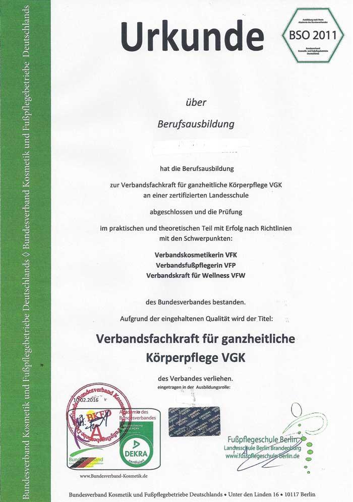 urkunde zertifizierte seminare